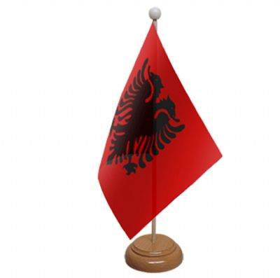 ALBANIA - TABLE FLAG WITH WOODEN BASE